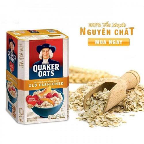 Bột yến mạch ông già tây Quaker Oats Old Fashioned nguyên hạt